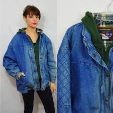 Hooded Denim Jacket 90s Heavy Coat Soft Grunge Hipster Vintage Womens Clothing Distressed Grungy 1990s Faded