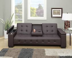 Castro Convertible Ottoman Bed by Faux Leather Adjustable Futon Sofa Bed Center Console