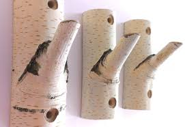 3 Natural Branch Wall Hooks Rustic Wooden Coat