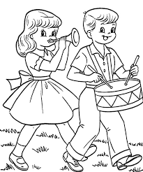 Drummer Boy And Girlfriend In Fourth Of July Colouring Page