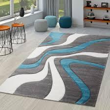 teppich türkis grau weiß wohnzimmer teppiche modern mit konturenschnitt größe 160x230 cm