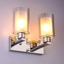 modern stainless steel led cylinder glass shade wall light hallway
