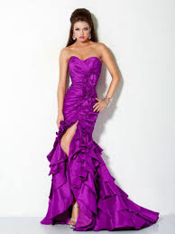 fashion color front split purple evening gowns on sale on with