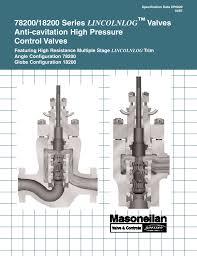 Dresser Masoneilan Pressure Regulator by 78200 18200 Series Lincolnlog Valves Anti