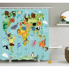 Wanderlust Decor Shower Curtain Set Animal Map The World For