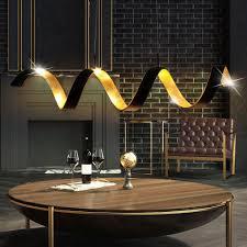 cob led decken hänge leuchte spirale gold schwarz ess zimmer