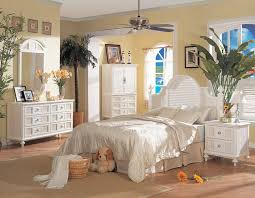White Rattan Bedroom Furniture Set Creating Tropical Designs Featuring