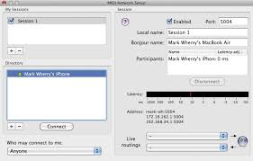 Using Core MIDI on both a Mac and an iOS device enables a Network Session to