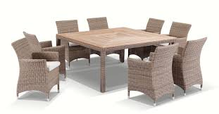 Sahara 8 Seater Square Teak Top Dining Table And Chairs In Half Round Wicker