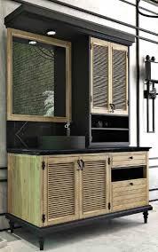 casa padrino luxus landhausstil badezimmer set naturfarben schwarz beleuchteter waschtisch mit 4 türen und 2 schubladen und 1 waschbecken und 1