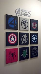 marvel avengers wall art made out of 10x10 canvases and acrylic