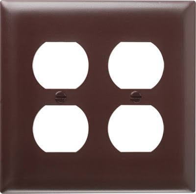 Pass & Seymour SP82U 2 Gang 2 Duplex Outlet Openings Urea Wall Plate - Brown