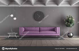 modernes wohnzimmer mit lila sofa gegen graue wand rendering