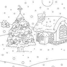 Outdoor Christmas trees Christmas landscape the snow coloring page Coloring page HOLIDAY coloring pages CHRISTMAS coloring