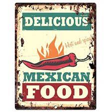 Delicious Mexican Food Chic Sign Rustic Vintage Retro Kitchen Bar Pub Wall