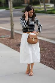 lace white midi skirt black and white striped tee tan leather