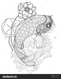 Hand Drawn Koi Fish In CircleGold Japanese Carp Line Drawing Coloring Book Vector Image