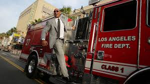 100 Fire Truck Movie Dwayne Johnson Rides To San Andreas Premiere