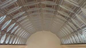 pressed plate tin metal ceiling installation on a barrel entry