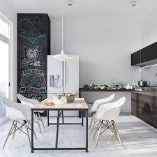 Beautiful Kitchen Layout Around Stunning Ultra Modern Dining Room