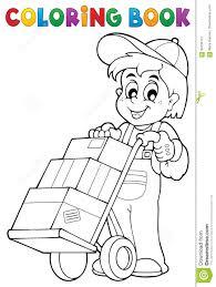 Livre De Coloriage De Travailleur Drôle Avec Chariot Image