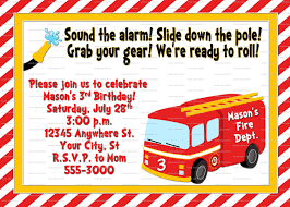Firetruck Birthday Invitation - Fireman Birthday Party - Fire ...