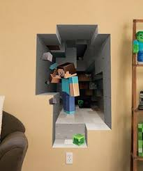 Bedroom created to look like the Minecraft village created in the