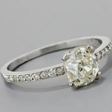 Antique Edwardian Style Platinum 118ct Cushion Cut Old Mine Diamond Engagement Ring