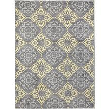 Spaces By Welspun Nylon Printed Area Rug Damask Grey Yellow