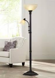 Restoration Bronze Torchiere Floor Lamp by Restoration Bronze Torchiere Floor Lamp With Amber Glass
