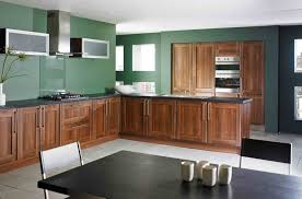 Kitchen Modern Dark Green Decoration With Brown Wooden L Shaped Cabinet Plus Rectangular Black Dining Table Combine