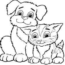 Coloring Pictures Dogs Cats Sheets And Free Pages Cat Dog