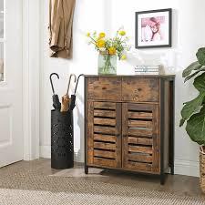 vasagle beistellschrank sideboard mit regalebene und schublade küchenschrank mit lamellentüren wohnzimmer schlafzimmer arbeitszimmer büro