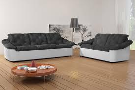 canapé 2 3 places salon fixe en tissu 3 et 2 places gris blanc yolinda canapé en
