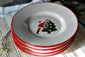 Vintage Ceramic Pottery Barn Holiday Kids Set of 4 Dinner Plates