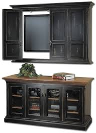 Simple And Neat Furniture For Rustic Living Room Decoration Using Black Wooden Wall TV Cabinet With Doors Front Glass Buffet