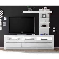 kompakte tv wand in weiß hochglanz mextra mit lowboard 2 teilig