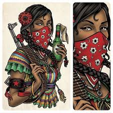 This Is A Back Tattoo Of Zapatista Woman Mexican Revolutionary I Designed