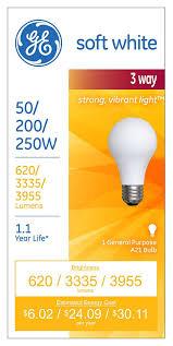 ge lighting 97482 12 50 200 250 watt a21 3 way soft white light