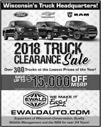 2018 Truck Clearance Sale, Ewald Automotive Group, Franklin, WI Marthaler Chevrolet Buick Of Minocqua Wiscoins Chevy Dealership Intertional Harvester Pickup Classics For Sale On Lifted Silverado Ewald New 1500 Lease And Finance Offers Kocourek Zero Percent Fancing Vehicles 0 Apr At Ross Chevrolet Tahoe Used Sale Wisconsinchevy Caprice Classic Grill Ford Used Car Dealer In Barron Wi Swant Graber Trucks For 1937 Chevy Pickup Antique Truck Vintage Barn Find 1968 Truck Aqua Blue Editorial Photo Image Auto 26550901 2014 Vs Ram Milwaukee Green Bay