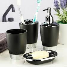 badezimmer set 4tlg schwarz aus kunststoff zahnputzbecher