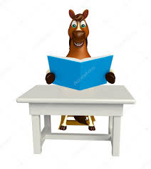 Fun Horse Cartoon Character With Books ;table And Chair ...