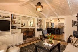 vaulted ceiling living room paint color black frame beige shag