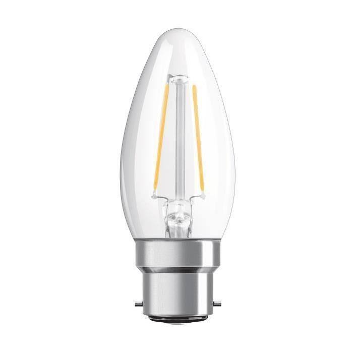 Osram LED Filament Candle Bulb - 4W, B22d, Very Warm White Clear