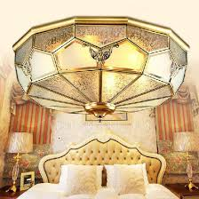 golden brass glass shade flush mount ceiling light for living room