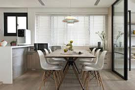Minimalist Dining Room Lighting Wood Table Soft Painted Gray Finish Mason Ridge End