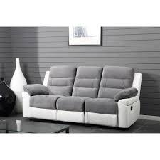 canapé droit de relaxation en simili et tissu 3 places