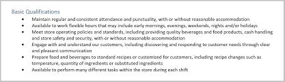 Starbucks Barista Resume Job Description Qualifications