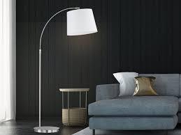 fischer honsel led bogenle stehle höhenverstellbar len schirm stoff stehleuchte lesele goldfarben design modern für wohnzimmer