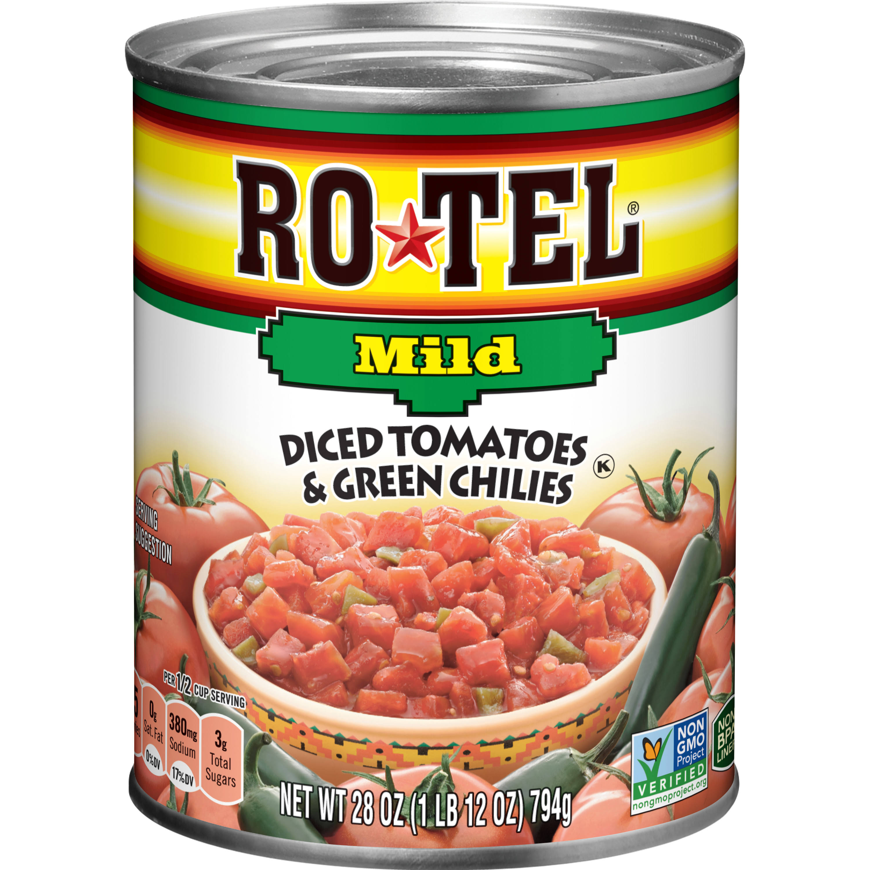 Ro*Tel Mild Diced Tomatoes & Green Chilies - 28 oz can